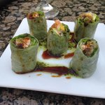 Spicy spring rolls with rice paper wraps
