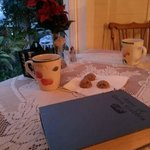 Our first evening was spent in the dining room with homemade cookies, hot tea, and good books.