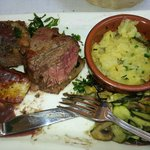 Big juicy steak. Soft and grateful to have been cooked at le Tour de Plan.