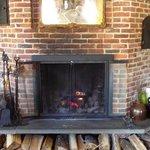 Inn lobby fireplace