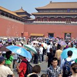 Crowds at the Forbidden City - Thankfully Stretch-a-leg avoided us  the queue !