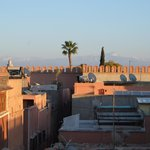 Roof terrace of Riad Shambala. Background of photo is the view of the Atlas mountain.