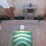 View of courtyard from first floor of riad.