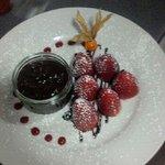 Strawberries and hot choc sauce mmm