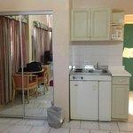 stove on top, fridge underneath.  Fridge works really well.