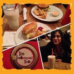 Vegetable burger and awesome choc chip milkshake (and one v. happy sister!)