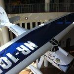 "A replica of Wiley Post's airplane ""Winnie Mae."""