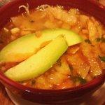 Mexican soup with avacado