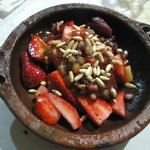 Dessert, fresh strawberry and pine nuts, very refreshing!