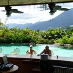 Swim up bar with volcano view