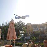 plane flying over hotel, brilliant!