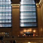 view of the restaurant balcony from the floor of Grand Central