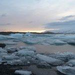 Blue ice, Jokulsarlon sunset
