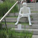 sculpture on steps