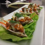Buffalo Fried Oysters with Bleu Cheese and a carrot/celery slaw.
