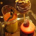 Dessert trio and chocolate stand