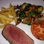 Medium well chateaubriand with hot veg & chips