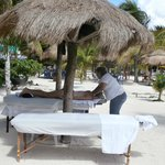 massage table on the beach