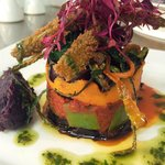 Aubergine & Sweet Potato Tower