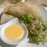 Flinders Island Lamb wrap with hollandaise sauce and beansprouts