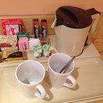 Coffee, tea, hot chocolate, kettle, etc.
