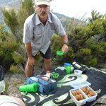 Morning tea on top of Lake Wanaka island with Chris Riley