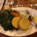 The salmon with potato cakes and greens at the Observatory