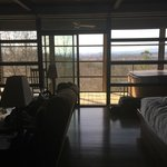 All glass wall leading to the porch in cabin/view