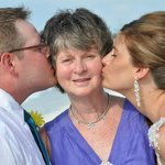 my mom,brides grandmother and groom
