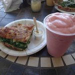 Sandwich and smoothie
