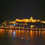 View of across the The Danube river from our suite at night.