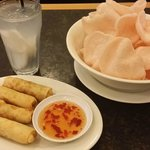 spring rolls and prawn crackers