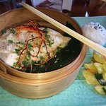 Steamed Chinese style fish tea leafs
