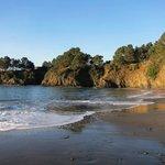 A five minute walk to Van Damme State Park beach