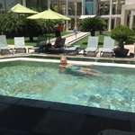 enjoying the pool