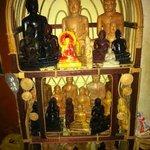 buddha statues in mahogany, ebony, marbled, 2 tone