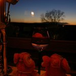 レストランからの眺め、冬の夕焼け