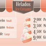 The new menu with larger offer ice cream ice slush and smoothies. El nuevo menú con amplias cosa