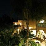 The courtyard garden at night.