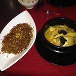 poulet lait de coco et curry avec nouilles chinoises