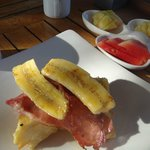 French Toast with Egg, Bacon & Banana, with Fruit Platter