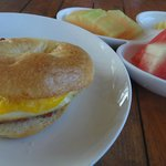 Bagel Breakfast with Egg & Bacon, with fruit platter