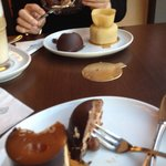 Size of the desserts are small- on the plate below: half of the mousse and the caramel dessert (