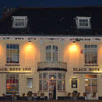 The Black Boys Hotel at night