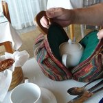 Tea is served in a bag at breakfast