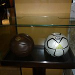Two footballs. Old and new design.