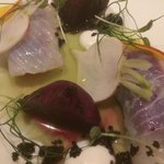 Starter - Beetroot and cured Spanish Mackerel