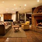 Open fireplace in lobby