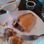 Cornish pasty (like a pot pie without the bowl, gravy served on the side)