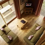 Living room in a Silver Birch cabin